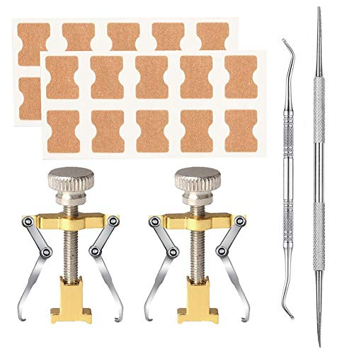 rosemaryrose Eingewachsene Zehennagel-Nagel-Zehen-Kit-Werkzeuge Klammer -6PCS Eingewachsene Zehennagel-Korrekturwerkzeuge Eingewachsene Zehennagelheber-Klemmaufkleber -Pediküre-Werkzeug