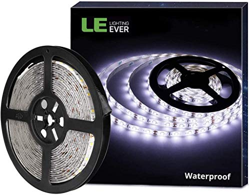 LE 12V LED Strip Light, Flexible, Waterproof, SMD 2835, 16.4ft Tape Light for Christmas, Home, Kitchen and More, Daylight White(Power Adapter not Include)