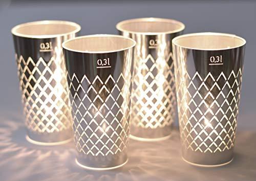 GERIPPTES LICHT 4ER SET SILBER, Papierschirm für Gerippte oder Teelichtgläser, Deko für Apfelweinliebhaber, originelle Geschenkidee Frankfurt, Souvenir aus Hessen