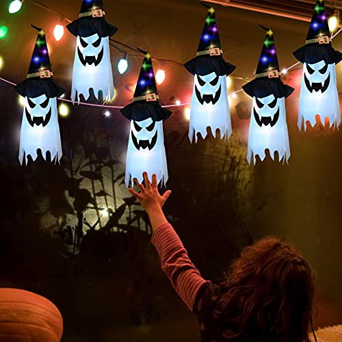 Gigoitly Halloween Hanging Ghost Witch Hats Led Light Up...