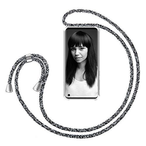 ZhinkArts Handykette kompatibel mit Samsung Galaxy S10 - Smartphone Necklace Hülle mit Band - Handyhülle Case mit Kette zum umhängen in Schwarz - Weiß