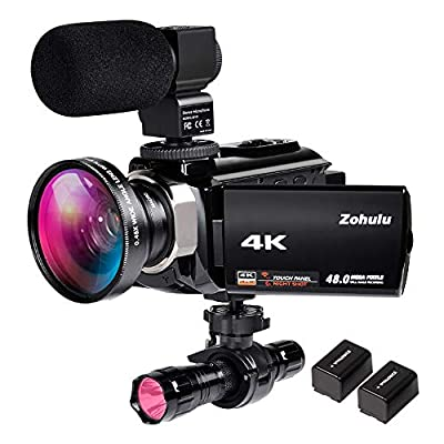 4K Video Camera Zohulu Camcorder, WiFi Vlogging Camera for YouTube with Microphone, 60FPS 48MP Ultra HD 16X Digital Zoom Night Vision Camera with IR Flashlight, Wide Angle Lens (2 Batteries Included) by ZOHULU010101