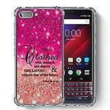 SuperbBeast Schutzhülle für BlackBerry KEY2 LE Hülle, Ultra dünn, weiches TPU, verstärkte Ecke, Vector Floral Polka Dots Glitzer Muster, Hot Pink Vector Floral Glitter Muster