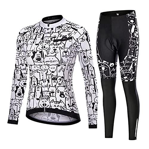 Conjunto de Ropa de Ciclismo para Mujer, Maillot Blanco con Perro Gato Dibujo, Uniformes de Mangas Largas para Bicicleta de Montaña