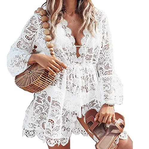 I3CKIZCE Summer Ladies Lace Maxi Dress Womens Crochet Bikini Beachwear Plano Largo Sheer Dress Girls Casual Cardigan Faldas Cortas Blusa blanco L