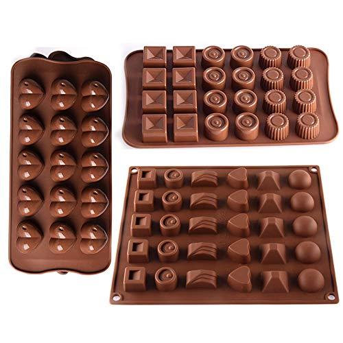 3 Pezzi Stampi in Silicone per Caramelle e Cioccolato Stampi Flessibili e Facili da Pulire per Caramelle e Cioccolatini Stampo in Silicone per la Decorazione Della Torta Jelly Pudding Candy Cioccolato