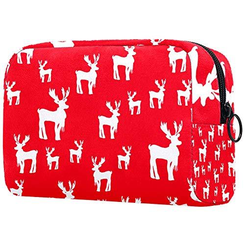 Trousse de toilette portable pour femme avec brosses de maquillage personnalisées - Sac à main - Organisateur de voyage de Noël cerf Rudolph