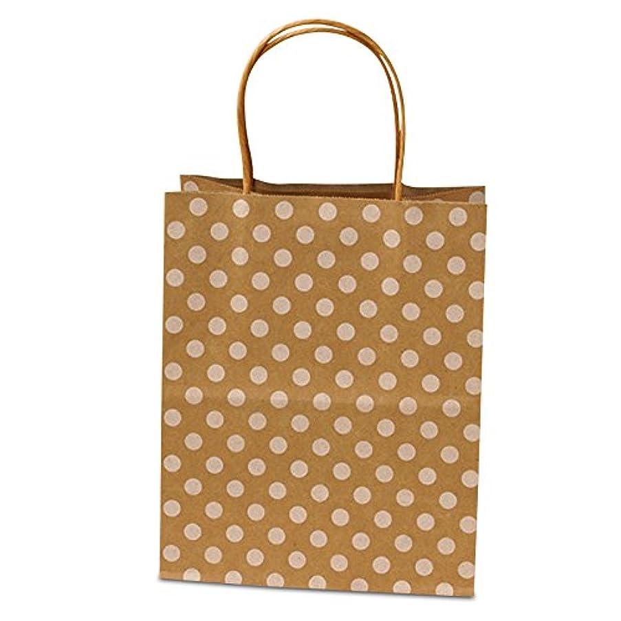 Panda Party Supplies Twisted Handle Natural Kraft Polka Dot Paper Shopping Gift Bags (12)