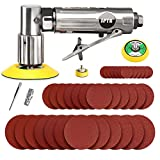 SPTA Mini Air Angle Sander Grinder Air Random Palm Sander Air Orbital Sander with M6 Backing Plate Car Polisher Sets with 36Pcs Mix Grit 80mm, 50mm, 25mm Sanding Disc Sanding Pads