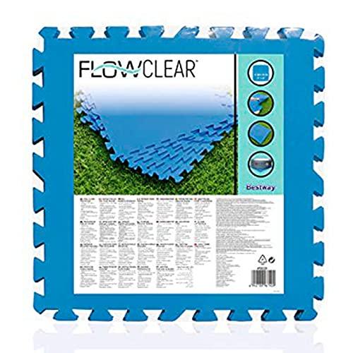 Acan Bestway - Protector de Suelo para Piscina, Set de 9 Piezas de 50 x 50 cm, Color Azul, 4 mm de Grosor. Tapete, Alfombra Puzzle Protectora