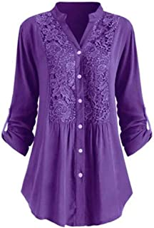 Oldlover-Women Blouse for Women Plus Size Roll Sleeve Lace Pattern V Neck Casual Blouse Shirt Tops Loose Tunic Top
