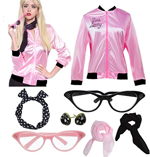 Womens Pink Party Jacket Costume with 50s Accessories Set (S, Pink)