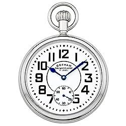 Gotham Men's Stainless Steel Mechanical Hand Wind Railroad Pocket Watch # GWC14102S