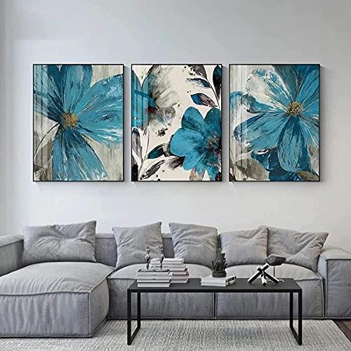 Decoraciones de pared Cuadros de flores azules Lienzo Arte de la pared Pintura Póster Impresiones Naturaleza muerta moderna Sala de estar Interior Decoración para el hogar 3 piezas 60x80cm sin marco