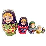 5 Stück hölzerne Russische Verschachtelung Mädchen Puppen Handgemachte russische Matroschka...