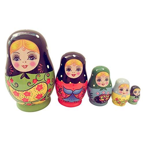 5 Stück hölzerne Russische Verschachtelung Mädchen Puppen Handgemachte russische Matroschka Matryoschka