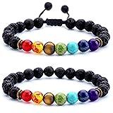 Hamoery Men Women 8mm Lava Rock Chakra Beads Bracelet Set Gifts for Friends Braided Rope Natural Stone Yoga Bracelet Bangle (Set 1)
