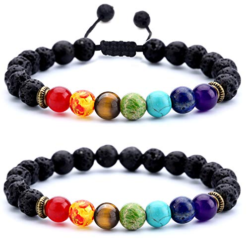 Hamoery Men Women 8mm Lava Rock Chakra Beads Bracelet Set Gifts for Friends Braided Rope Natural Stone Yoga Bracelet Bangle (Set 1)
