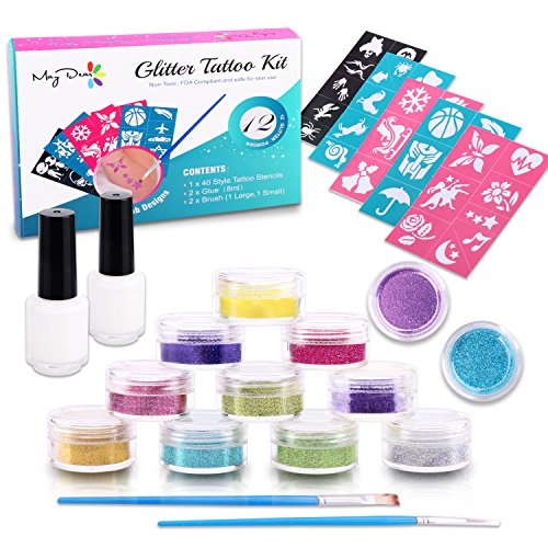 Maydear Glitter Tattoo Kit with 12 Large Glitters & 40 Stencils for Temporary Tattoos children temporary tattoos kids Teenager Adult Party Accessory & Body Art (12-Color)