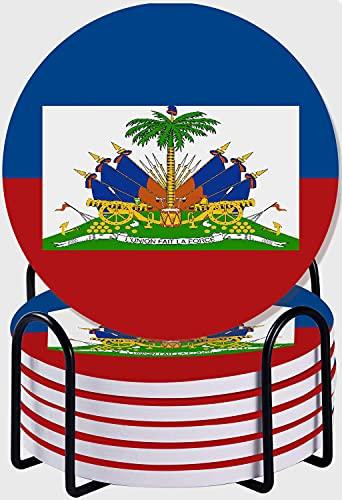 CIKYOWAY Untersetzer für Getränke,Haiti-Flagge 6er Set Saugfähige Keramik Untersetzer mit Korkboden/Metallhalter Tischschutz für Heimdekoration
