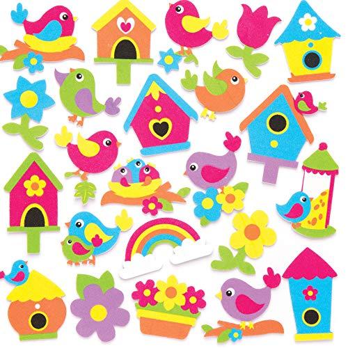 Baker Ross Adesivi in gommapiuma con uccellini primaverili (confezione da 120) - Decorazioni creative per bambini