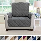 MIGHTY MONKEY Premium Reversible Chair Protector for Seat Width up to 23 Inch, Furniture Slipcover, 2 Inch Strap, Chairs Slip Cover Throw for Pets, Dogs, Cats, Armchair, Charcoal Light Gray