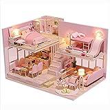 XLZSP Miniatura loft casa de muñecas muebles luz LED con música y cubierta de polvo rosa apartamento asamblea madera casa rompecabezas modelo cumpleaños juguete regalo
