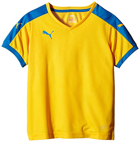 Puma T-Shirt Pitch Short Sleeve, Camiseta de Fútbol para Niños, Amarillo (Team Yellow/Puma Royal), 13-14 Años (Talla del Fabricante: 164)