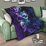 Flowerhome Totenkopf Tagesdecke Steppdecke Bettdecke Bettüberwurf Sofadecke Couchdecke Schlafdecke Wohndecken Kuscheldecken für Sofa Couch Bett White 173x203cm