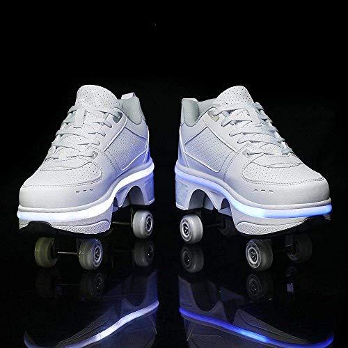 2 en 1 Patines con ruedas de deformación de cuatro ruedas Patín de ruedas Desmontable Multifuncional Al aire libre Automático Caminar Invisible Doble fila Deformación con luces de 7 colores,