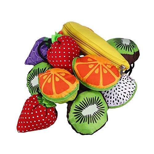 Einkaufstaschen, wiederverwendbar, Früchte, Einkaufstaschen, faltbar, Aufbewahrungsbeutel, praktische Lebensmitteltüten, für Einkaufen, Reisen, 5 Stück (zufällige Farbe).