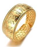 Halukakah  l'or Bénissent Tous  Le Bague de l'homme en 18K Or Véritable Doré Rich...