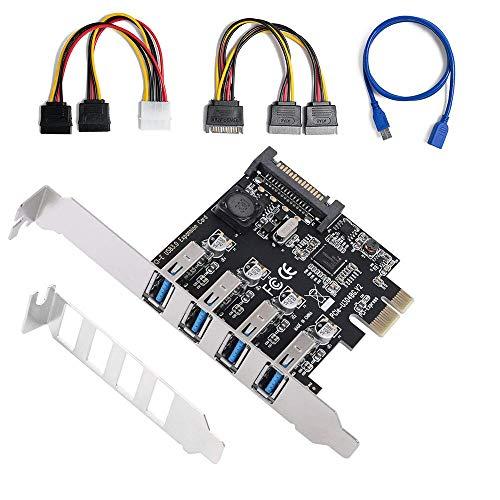 QNINE - Tarjeta expansión USB PCIe 3.0 4 Puertos
