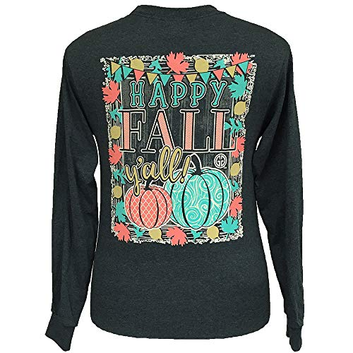 Girlie Girl Originals Happy Fall Y'all Long Sleeve T-Shirt Dark Heather, XXLarge