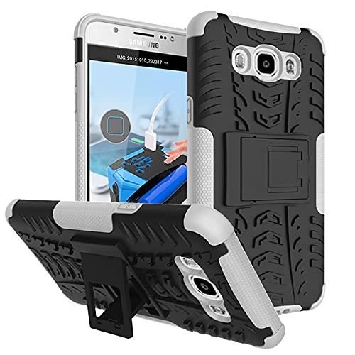 Bolso de un teléfono portátil Funda protectora para Samsung Galaxy J510 (J5 2016), TPU + PC Funda robusta híbrida de grado militar, caja de teléfono a prueba de golpes con soporte ( Color : White )