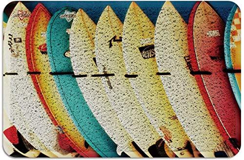 Tablas de Surf Retro Felpudo PVC Alfombras con Respaldo de Goma Alfombras de Piso Alfombra Antideslizante para Puerta Delantera Interior Exterior Colorido