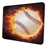 Baseball Fire Mouse Pad with Stitched Edge Non-Slip Rubber Mouse Mat Waterproof Desk Mat for Office Home