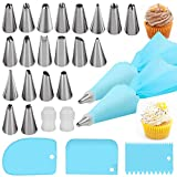Silicone Icing Piping Bag,Reusable Cream Pastry Bag and 14× Stainless Steel Nozzle Set DIY Cake...