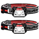 USB Rechargeable Running Head Torch - Ultralight Induction Headlight with 5 Lighting Modes & SOS Red Light for Kids Adults Runner Walking (2 Pack)