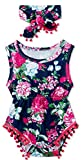 Infant Girls Black Rompers for Toddlers Cute Red Rose Flower Bodysuits Crewneck Buttons Snap Design Jumpsuits with Tassel Kids Boy Casual Sleeping Sleeveless Lovely Spring Fall Clothes, 3-6 Months