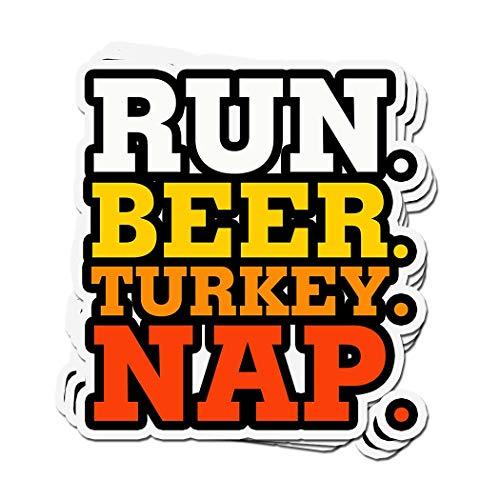 3 Stück Sticker Run. Bier Türkei Nap Turkey Trot Thankgiving Runner 10,2 x 7,6 cm Vinyl-Aufkleber für Laptop-Fenster