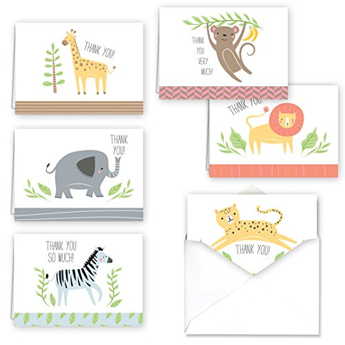Jungle Animal Baby Child Thank You Greeting Cards / 36 Note Cards / 6 Safari Thanks Designs