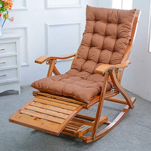 silla Tumbona Al Aire Libre Reclinable Plegable De Madera De Acacia Almohadilla De Algodón Amigable con La Piel para Jardín Playa Tomar El Sol Oficina Almuerzo, Carga Máxima: 200 Kg