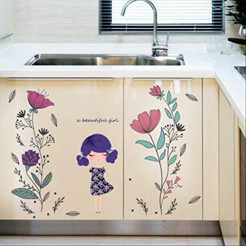 Muursticker stijlvolle slaapkamer woonkamer tv-achtergrond handgeschilderd meisje scan-vriendelijk behang, decoratie muursticker
