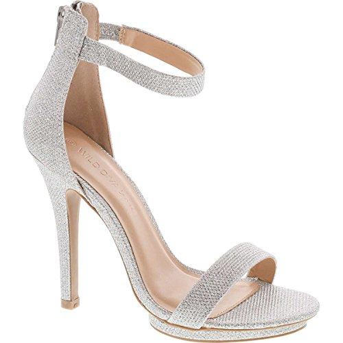 Wild Diva Womens Open Toe Ankle Strap High Stiletto Heel Platform Pump Sandal,Silver Glitter,9