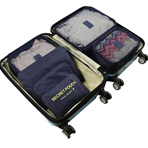 TaiRi 6-teiliges Reiseset Gitter-Aufbewahrungstasche, wasserdichte Gepäck-Organizer-Taschen, multifunktionale Kleidung Sortieren Pakete, blau