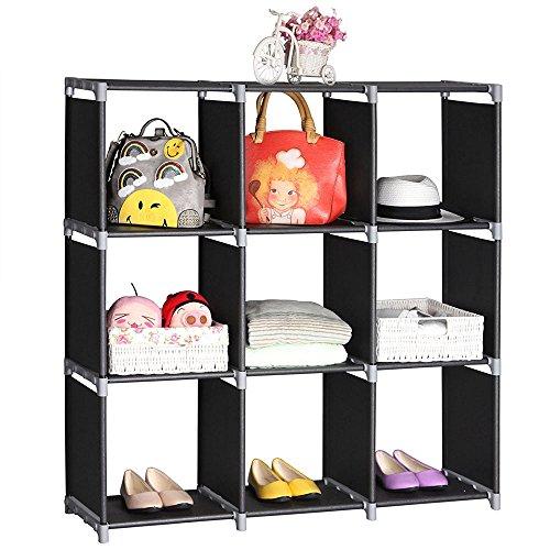 KWOPA Estantería de almacenamiento de 3 niveles con 9 compartimentos, multifuncional, para armario, armario, ropa, color negro. 3 tercios