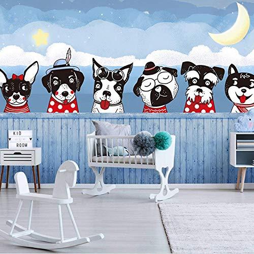 YBSBH Mural 3D Fondo Autoadhesivo (W) 350X (H) 256Cm Foto Cartoon Pet Shop Cute Cartoon Dog 3D Mural Arte De La Pared Decoración Niños Dormitorio Chica Habitación Kindergarten Sala De Estar Papel