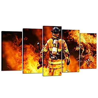Kreative Arts - No Greater Love Fireman Back Canvas Prints Fire Fighter Inspirational Framed Art Print Wall Décor Picture for Home Living Decorative (Large Size 60x32inch)