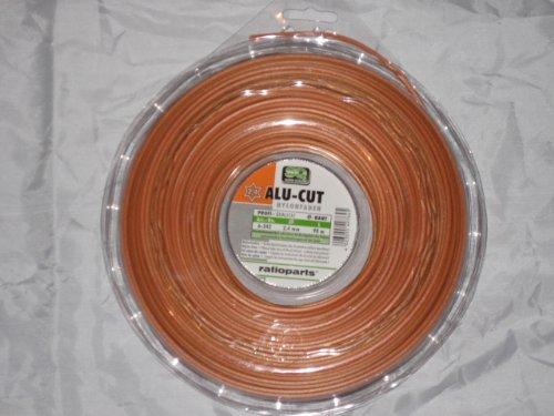 Ratioparts Nylonfaden 2,4 mm Alu-Cut 15 m Trimmerfaden 6-Kant Mähfaden, Orange